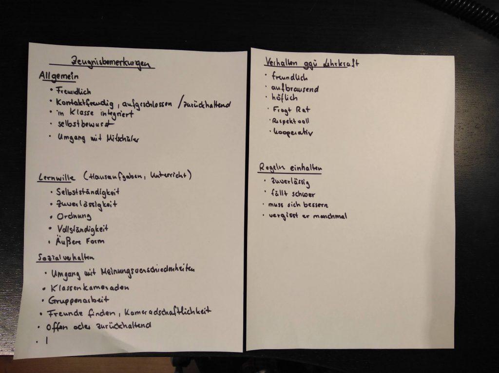 Zeugnis schreiben - Formulierungen planen