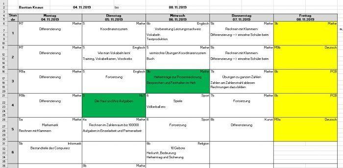 Wochenplan-Vorlage Lehrerzeit