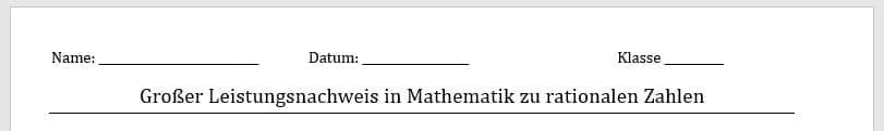 Kopf einer Klausur mit Name, Datum, Klasse und Thema der erstellten Prüfung